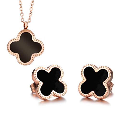chmuckset *Kleeblatt* aus Edelstahl Kreuz Schwarz Halskette mit Anhänger & Ohrringe in Roségold inkl. Schmuckbeutel ()