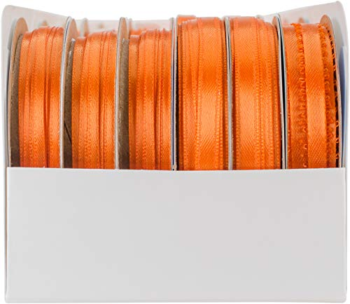 Unbekannt Offray Spool O' Ribbon Woven Edge Solid Assortment 24/pkg-Orange Offray Spool