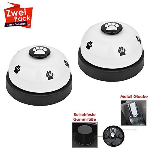 SlowTon 2er Trainingsglocken für Haustiere mit Non Kufen aus Gummi Hund Türklingel für Potty Katzentraining, Töpfchentraining Kommunikationsgerät mit Paw Größe Button