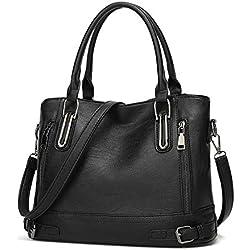 Bolso Bandolera Mujer Bolsos Mujer de Cuero PU Casual Bolso Shopper Bolso de Hombro Bolsa Tote Gran Capacidad,Negro