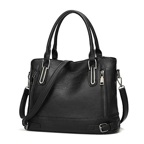 Damen Handtasche PU Leder Henkeltasche Top Griff Tasche Vintage Weiches Umhängetasche Schultertasche für Frauen - Schwarz