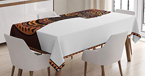 ABAKUHAUS Afro Tischdecke, Stammes-exotische Totem-Maske, Für den Inn und Outdoor Bereich geeignet Waschbar Druck Klar Kein Verblassen, 140 x 170 cm, Zimt und ()