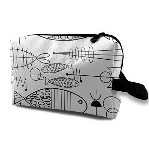 Mid Century Modern Fish Black and White Travel Makeup Cute Cosmetic Case Organizer Portable Storage Bag for Women Black High Gloss Oxford