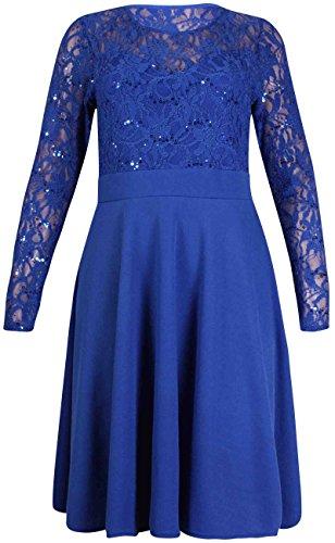 Purple Hanger - Robe Pour Femmes Longue Extensible Evasée Doublure Dentelle Mini Robe Grande Taille Bleu Roi