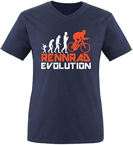 EZYshirt® Rennrad Evolution Herren V-Neck T-Shirt Navy/Weiss/Orange