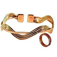 Magnetisch Kupfer & Messing Welle Armband und Geätzten Linien magnetisch Kupfer Ring Kombi Geschenkset - Klein... preisvergleich bei billige-tabletten.eu