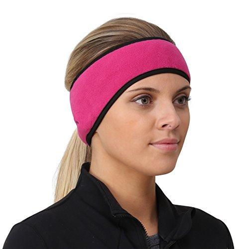 TrailHeads Pferdeschwanz-Stirnband für Damen   Ohrenwärmer aus Vlies   Stirnband für Winterläufe - rosa/schwarz