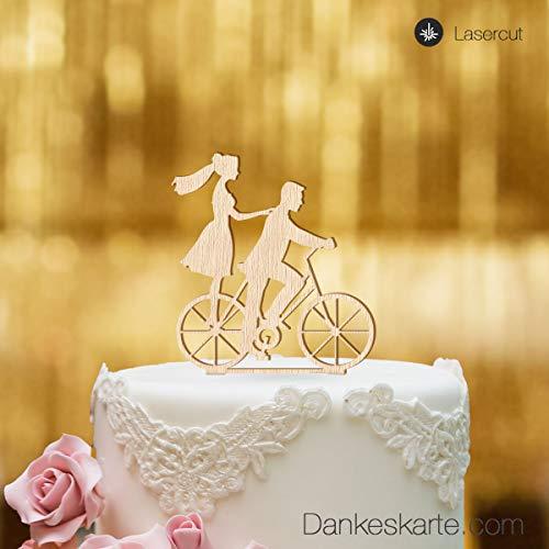 Dankeskarte.com Cake Topper FahrradCake Topper Fahrrad - für die Hochzeitstorte - Buchenholz- XL - Fahrrad Hochzeit