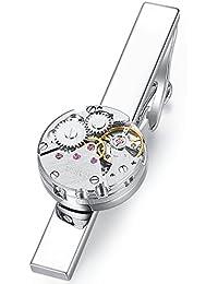 Honey Bear Clip Pasador de corbata -Talla normal Para Hombre Necktie, Redonda No funciona del reloj mecš¢nico,Acero inoxidable,Boda Negocio Regalo,5.4cm(plata)