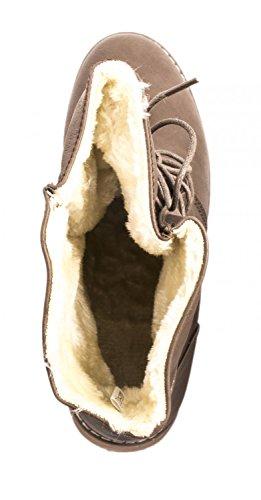 Elara Damen Stiefelette | Biker Boots | Trendy Lederoptik Braun New York