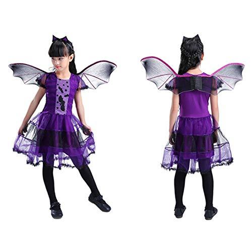 Shi18sport 2018 Kinder Halloween Constume Cosplay Kleidung Hexe Set Fledermaus Kleid Little Devil Night Party Kostüm Karneval Hut + Kleid, ()