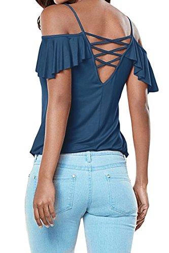 Hippolo T-shirt / bloue/top pour femme à épaules dénudées asymétriques, bretelles et manches à volants -  - moyen Bleu