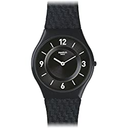Swatch Men's 34mm Blue Calfskin Band Plastic Case Swiss Quartz Analog Watch SFN123