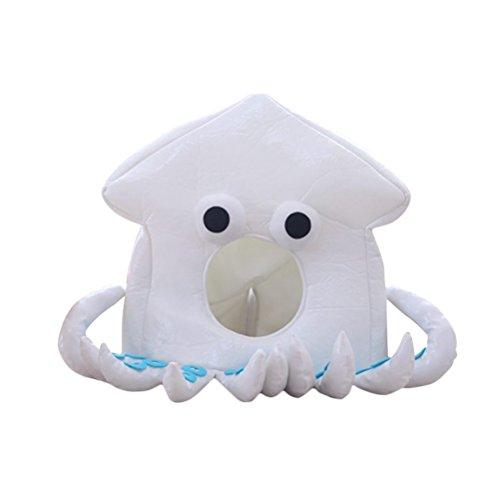 Amosfun Octopus Headwear Cartoon Tier Hut Weichen, Warmen Plüsch Niedlichen Hut Halloween Kostüme Weihnachten Geburtstagsgeschenk für Freunde Frauen Mädchen (Weiß)