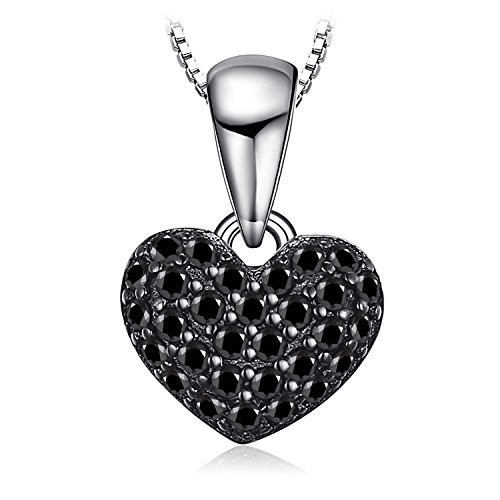 Jewelrypalace 0.14ct naturale spinello forma di cuore ciondolo argento sterling 925 catena 45cm