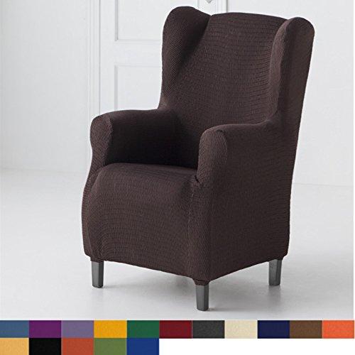 Funda de Sillón Orejero Elástica Modelo Libia, Color Marfil, Medida 80cm de ancho