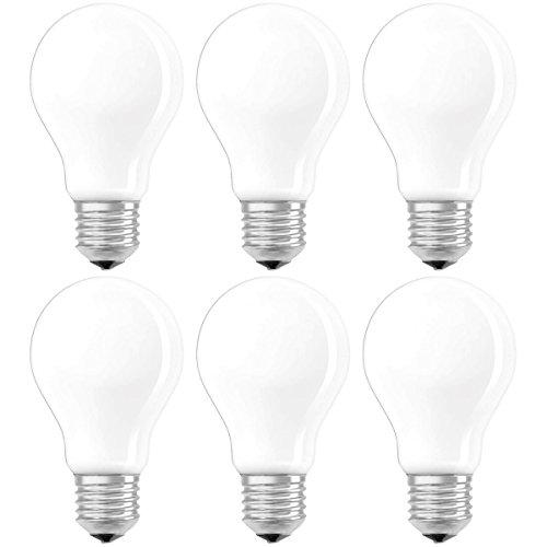 Osram LED SuperStar Classic A Lampe, in Kolbenform mit E27-Sockel, dimmbar, Ersetzt 40 Watt, Matt, Warmweiß - 2700 Kelvin, 6er-Pack -