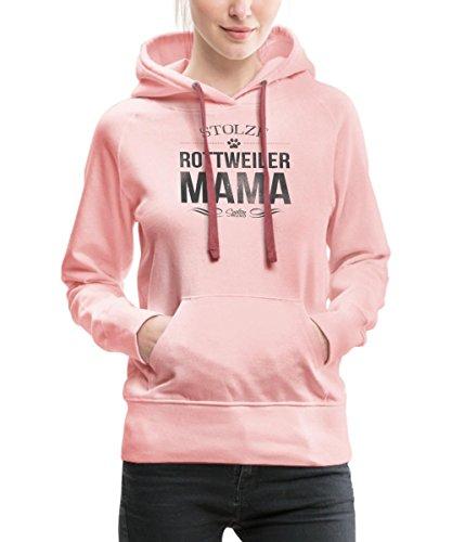 Rottweiler Pullover (Spreadshirt Stolze Rottweiler Mama Rotti Frauchen Frauen Premium Hoodie, L, Kristallrosa)