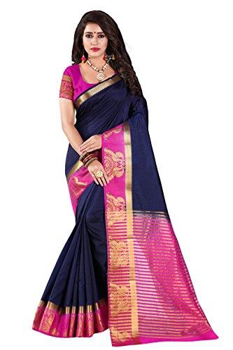 Nirja Creation Cotton Silk Saree(NC-OD-LOVE-4_Blue_Medium)