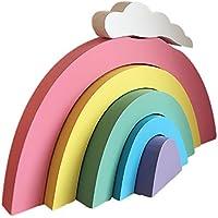 Regenbogen-Bausteine, nordische Art-hölzernes handgemachtes Handwerk, Hauptschlafzimmer-/Partei-/Hochzeits-/Geburtstags-/Baumschulen-/Wiegen-/Babyparty-hängende Dekoration