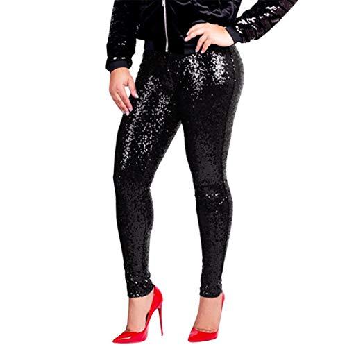 Bluestermall Pantaloni Con Paillettes Da Donna Slim Fit Mo