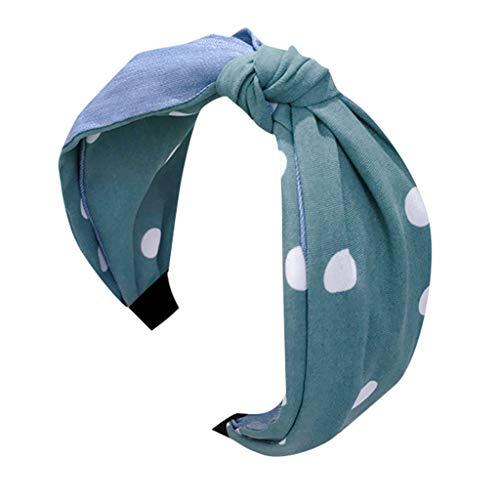 CANDLLY Stirnband Damen, Kopfschmuck Zubehör Mode Lässig Denim Tuch Kontrastfarbe Wellenpunkt Mittleren Knoten Breite Seite Verknotet Stirnband Kristall Schöne SeiteStoff Haarband Kopfbedeckung