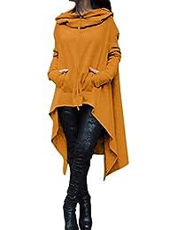 Reaso Femmes Hoodie Sweatshirt Cardigan Mode Manteau Blouson Loose Tunique Long À capuche Tops Elegant Pull Casual Gilet Asymétrique Coton Shirt Blouse Grande Taille