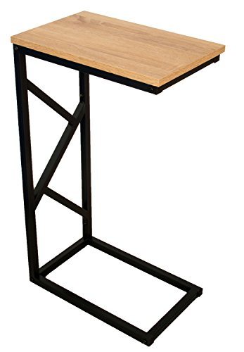 bonVIVO® Table d'appoint Giorgio- Aspect Bois Moderne avec châssis en Acier Noir