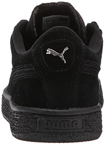 Puma High Risked Black White Suede Youths Trainers Black Puma Silver