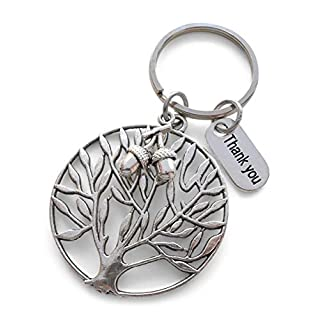 Large Tree Keychain Appreciation Gift, Thank You Charm with Acorn Seeds Charm Keychain - Teachers Plant Seeds That Grow Forever