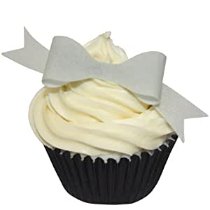 Pack of 10 edible Pre-Cut 3D Silver Bows - add a magic touch to any creation.