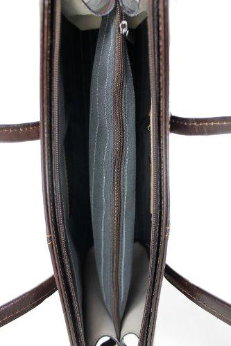CTM Borsa Donna a Tracolla con Manici Porta Documenti Professionale, 40x30x12cm, Vera Pelle 100% Made in Italy Testa di Moro
