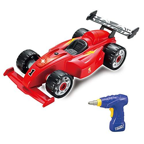 F1 Construction Toy Racing Car - 24 Stücke mit realistischen Sounds & Lights - 2 in 1 Einfacher Bau eines eigenen Rennwagensets mit elektrischem Bohrwerkzeug - Geschenke für 3 Jahre alte Jungen