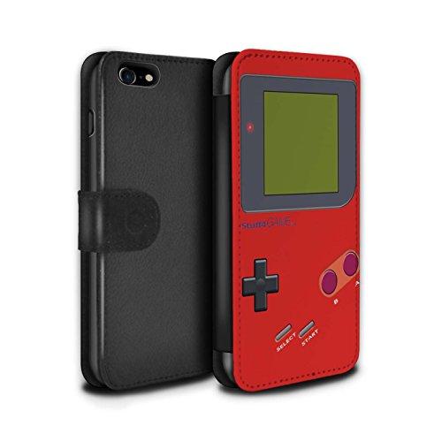 STUFF4 PU-Leder Hülle/Case/Tasche/Cover für Apple iPhone 7 / Weiß Muster / Videogamer/Gameboy Kollektion Rot