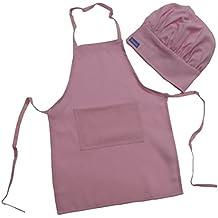 Kit Delantal y Gorro de CHEF para ninos color ROSA PINK, todas tallas Alta Calidad por CHEFSKIN (12-36 Meses)