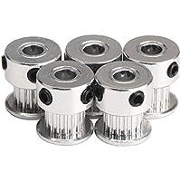 UEETEK 5 Stück Aluminium 2GT GT2 Riemenscheiben 20 Zähne Bohrung 8mm für 3D-Drucker Reprap Mendel Prusa