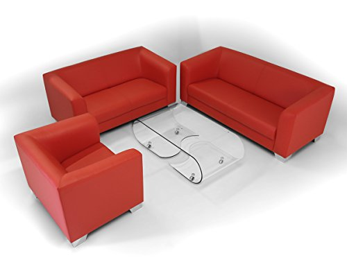 CHICAGO 2er Sofa / Ledersofa, rot - 4