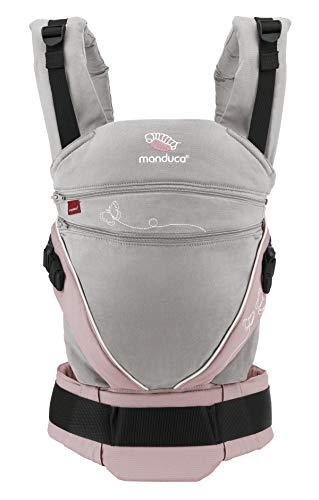 Babytrage manduca XT > Limited Edition/Butterfly Pearl < All-in-One Babytrage, Bio-Baumwolle, Sitz verstellbar in Höhe und Breite, mitwachsend für Babys & Kleinkinder von 3,5 bis 20 kg (grau/rosa) -