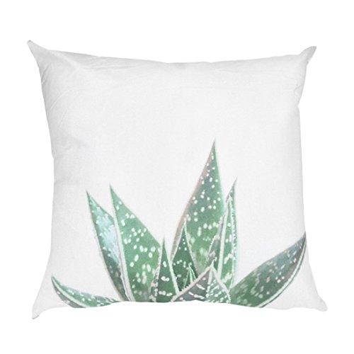 Clemunn 45x 45cm Cactus Opuntia Feuilles Vert Imprimé Taie d'oreiller Housse de Coussin Home Decor pour Auto, canapé, Lit, Maison, Hôtel, Bar, b, Approx. 45 * 45cm Clemunn