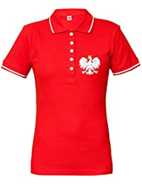 Rule Out Mujer Polo Camiseta Ropa para Fans Pulido Fútbol Equipo Polska. Polonia Supporter.
