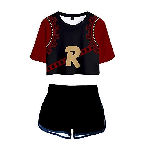 ALIDONE My Hero Academia Trenddruck 3D Crop T-Shirt & Shorts Anzug Damen Zweiteiler Sport Sets J Style M -