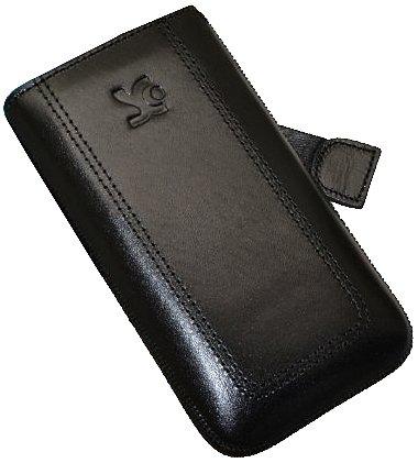 Original Suncase Echt Ledertasche (Lasche mit Rückzugfunktion) für Samsung GT i8700 Omnia 7 in