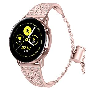 Bling Strass Edelstahl Armband für Samsung Galaxy Watch Active,Bloodfin Armbänder Ersatzarmband metallarmband Ersatzband Smart Watch Uhrenarmband Geschenk Herren Damen