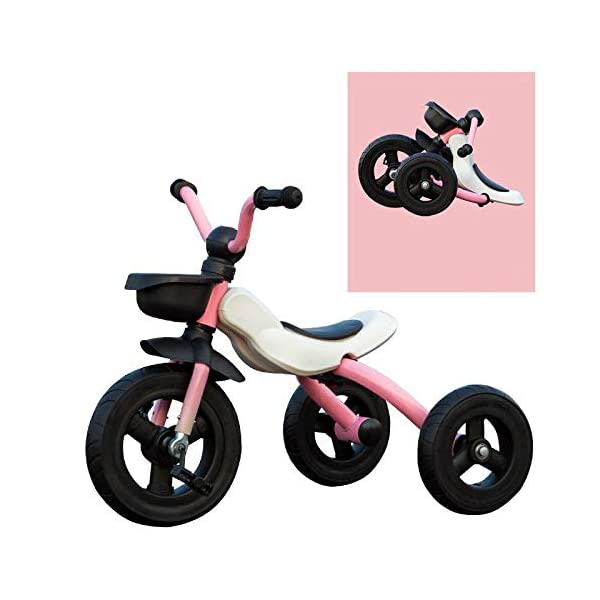 BGHKFF Children's Pedal Tricycle 2 To 6 Years Non-slip Handles Childrens Tricycles Anti-slip Pedals Pleasantly Padded Seat Childrens Folding Tricycle Maximum Weight 25 Kg,Pink BGHKFF ★Material: High carbon steel frame, suitable for children aged 2-6, maximum weight 25 kg ★Safe design: golden triangle structure, safe and stable ★Scientific design function: foldable body; comfortable soft seat; detachable rear wheel; metal connector; non-slip grip; non-slip pedal; 1