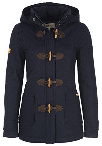 DESIRES Penna Damen Winter-Mantel Wollmantel Dufflecoat mit Stehkragen und gefütterter Kapuze, Größe:XS, Farbe:Insignia Blue (1991) (Mäntel Blaue Kurze)