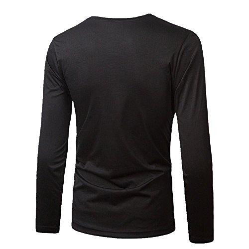 BOMOVO Herren Freizeit Spleiß Langarm T-Shirt Shirt Henley-Slim Fit Schwarz