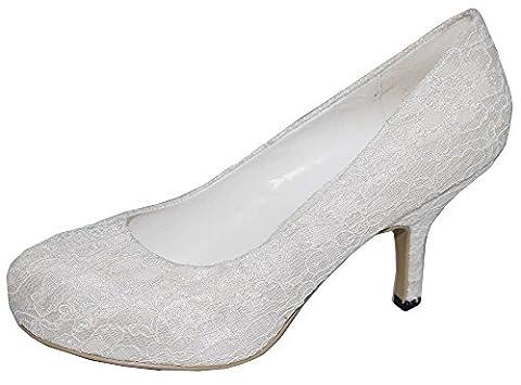 Satin ivoire avec dentelle pour femme à talon bas moyen soirée mariage/chaussures - Blanc cassé - ivoire,