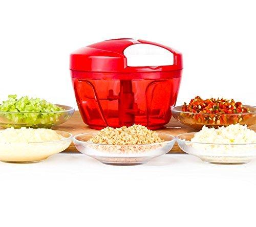 Tenta Kitchen 485ml Gemüse und Obst Zwiebel Zerkleinerer Manuell Hacken Schneiden Mischen mit 3 Klingen -