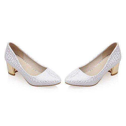 AllhqFashion Damen Kariert Weiches Material Mittler Absatz Ziehen Auf Pumps Schuhe Weiß