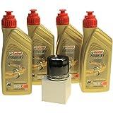 Cambio de aceite Set 4litros Castrol SAE 5W-40Power 1Racing 4T Incluye aceite cito merx cit138para Aprilia RSV41000, Arctic Cat Cat, CAGIVA, KAWASAKI, Kymco, Sachs, SUZUKI